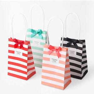 10-50X Cross Stripe Paper Party Loot Bags Handles -  Wedding Birthday Gift Bags