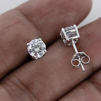 1 CT DIAMOND ROUND CUT 10K REAL WHITE GOLD SOLITAIRE STUD EARRINGS FOR WOMEN'S