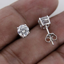 1 CT ROUND CUT DIAMOND 10K WHITE GOLD SOLITAIRE STUD EARRINGS FOR WOMEN'S