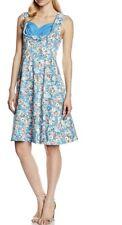 NWT Lindy Bop Ophelia Sky Blue Floral Pin Up Rockabilly Swing Dress US Size 14