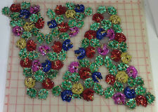2 Colorful beaded sequins bodice applique flower design red blue green gold 15""