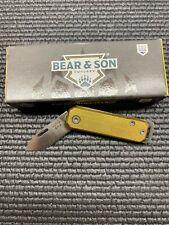 Bear & Son Small Aluminum Slip Joint Folding Pocket Folder Knife Yellow Usa