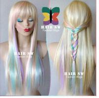 Rainbow color long straight wig gradient cos color Halloween party wig