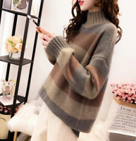 Womens Stripe Cashmere Knitted Sweater High Collar Loose Thicken Warm Tops Gjxia