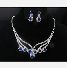 Blue Wedding Bridal Jewelry Set Crystal Diamante Rhinestone Necklace & Earrings