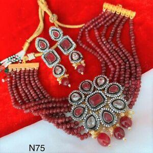 Kundan Choker Necklace Set Gold Plated Bollywood Bridal Indian Fashion Jewelry