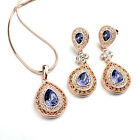 18K ROSE GOLD/P & GENUINE AUSTRIAN CRYSTAL & CZ PURPLE NECKLACE & EARRING SET