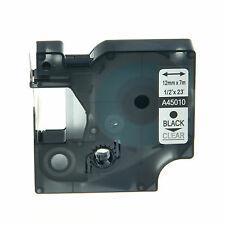 """1PK 45010 Black on Clear Label Tape For Dymo D1 Labelmanager 120P 300 12mm 1/2"""""""