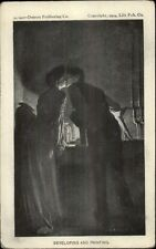 Romance Couple in Dark Room Developing Photography c1905 Postcard