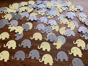 125 Yellow silver grey elephants table confetti christening baby shower elephant