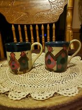 SET OF 2  HEATHERSTONE POTTERY HAND PAINTED SIGNED BIRD HOUSE CUPS MUGS
