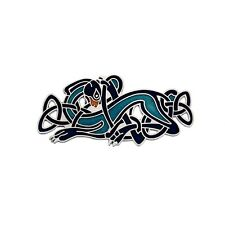 Celtic Dog Brooch Silver Plated Blue Brand New Gift Packaging