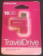 Memorex 16GB Mini Travel Flash Drive Swivel Breast Cancer Pink KeyChain Portable