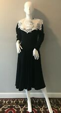 Vtg Sm 6 1980s black white bow thick winter Ambria dress Princess Waist FC10
