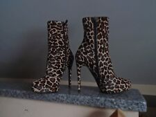 NEW BARBARA BUI LEOPARD PRINT-CALF HAIR PLATFORM ANKLE BOOTS, MADE IN ITALY, 6