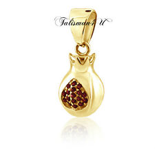 New 14K Gold Filled Pendant Prosperity Pomegranate Red Crystals Designer Jewelry
