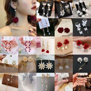 2021 Fashion Flower Long Tassel Stud Earrings Dangle Women Weddings Jewelry Gift