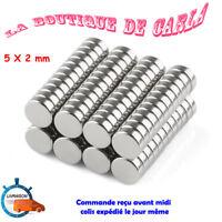 Lot 50 Aimants Neodyme Neodium Disque Rond Super Magnet N50 5mm x 2mm de France