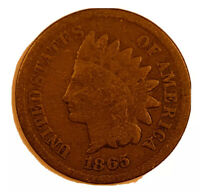 1865 Indian Head 1c One Cent Penny US Coin Fine, Civil War Era, Free Ship! *3598