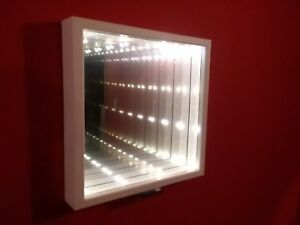 Infinity Mirror Battery Powered with warm light and white frame