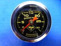 """Marshall Gauge 0-30 psi Fuel Pressure Oil Pressure 1.5"""" Midnight Chrome Liquid"""