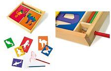 Set sagome cm 10x8 per disegnare, con matite colorate e scatola cm 24x22