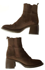 Vtg FREELANCE France Womens Sz 37 Pull-On Brown Suede Ankle Boots Heeled Chelsea