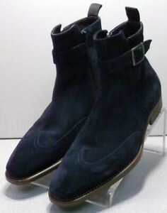 242877 SPBTi60 Men's Shoes 9 M Navy Suede Boots Made in Italy Johnston & Murphy
