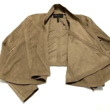 BCBG Max Azria Draped Faux Suede Jacket Size XS Mocha Womens