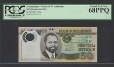 Mozambique 50 Meticais 16-6-2011 P150a Uncirculated Graded 68