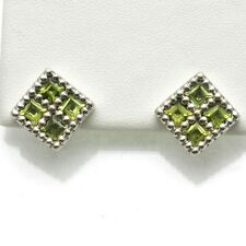 Vintage 14k white gold Peridot Square Earrings french back 4.80 carats WOW!