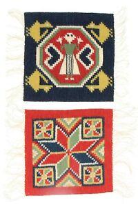 2 x small Ulla Getzmann tapestry panels Swedish textile art 25 cm