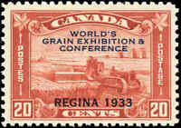 Mint Canada 1933 F-VF Scott #203 20c Grain Exhibition Stamp Never Hinged