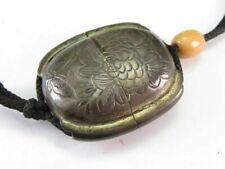 Meiji period Japan antique silver women Peony Butterfly Inro Ojime bead netsuke