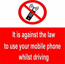 10 x No mobile phones whilst driving signs 100x100mm Self-adhesive (NM1E)