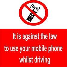 10 x no i telefoni cellulari quando guidano segni 100x100mm autoadesiva (nm1e)