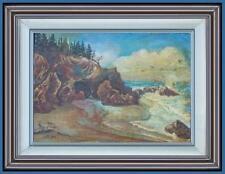 ARTE NAIF marina tramonto sugli scogli olio tavola ENRICO COPETTA COEN 1925-1989