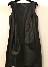 Vince Leather Dress Black Sleeveless Boatneck Mini With Pockets Dress Size 6