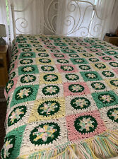 71 x 75 Crochet Knit Granny Square Pattern Throw Blanket Afghan Spring Pastels