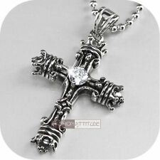 cross pendant mens stainless steel chain necklace vintage silver crown crystal