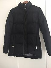 COACH Slim Fit Black Feather Down Jacket Leather Detail  Size XS 2
