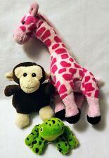 "Adventure Planet Plush Stuffed Animals(3) 10"" Giraffe•5"" Monkey•3""Frog Pre-owned"