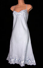 NWT LAURA ASHLEY SILKY EMBROIDERED BLUE LINEN SUMMER ELEGANT OCCASION DRESS 14UK