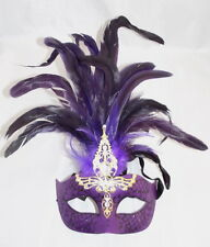 Venetian Masquerade Mask Purple With Feathers