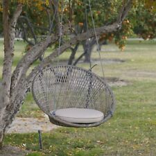 Outdoor Hanging Swing Chair Resin Wicker Porch Patio Furniture Hammock Seat  Gray