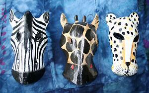 3x Small Wild Animal Masks Hanging Wall Art GIRAFFE ZEBRA LEOPARD Wood Plaques
