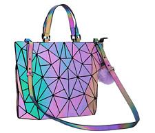 Holographic Geometric Luminesk Purse Tote Handbag Reflective Women Makeup Bags C
