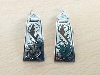 VINTAGE NATIVE AMERICAN STERLING SILVER & TURQUOISE EARRINGS 1960