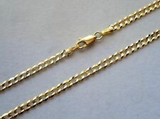 14K SOLID GOLD 3.5MM MEN WOMEN CUBAN LINK CHAIN SIZE 16' - 36' FREE SHIPPING