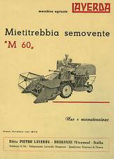 Mietitrebbia Laverda M 60 manuale di uso e manutenzione, combine, moissonneuse